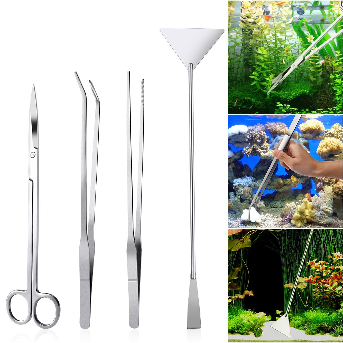 UEETEK 4PCS Acier inoxydable Aquarium Tank Aquatic Plant Tweezers and Scissors Spatula Tool Set