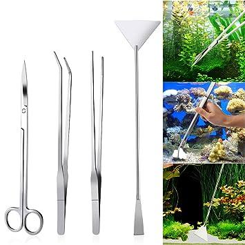 UEETEK 4PCS acuario de acero inoxidable tanque de plantas acuáticas pinzas y tijera spatula conjunto de