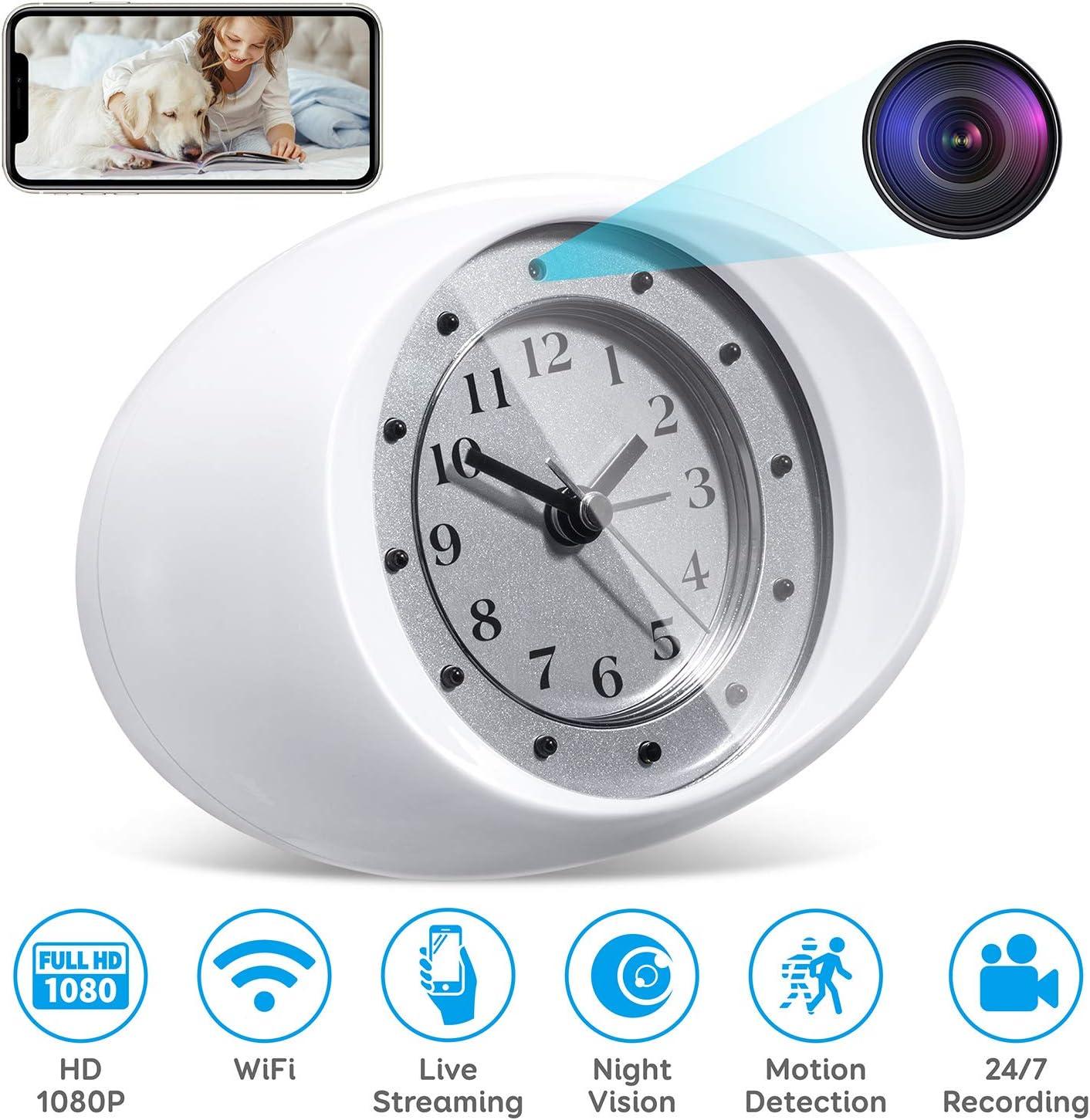 1080P Mini WiFi Spy Camera Clock Hidden Wireless Night Vision Security Nanny Cam