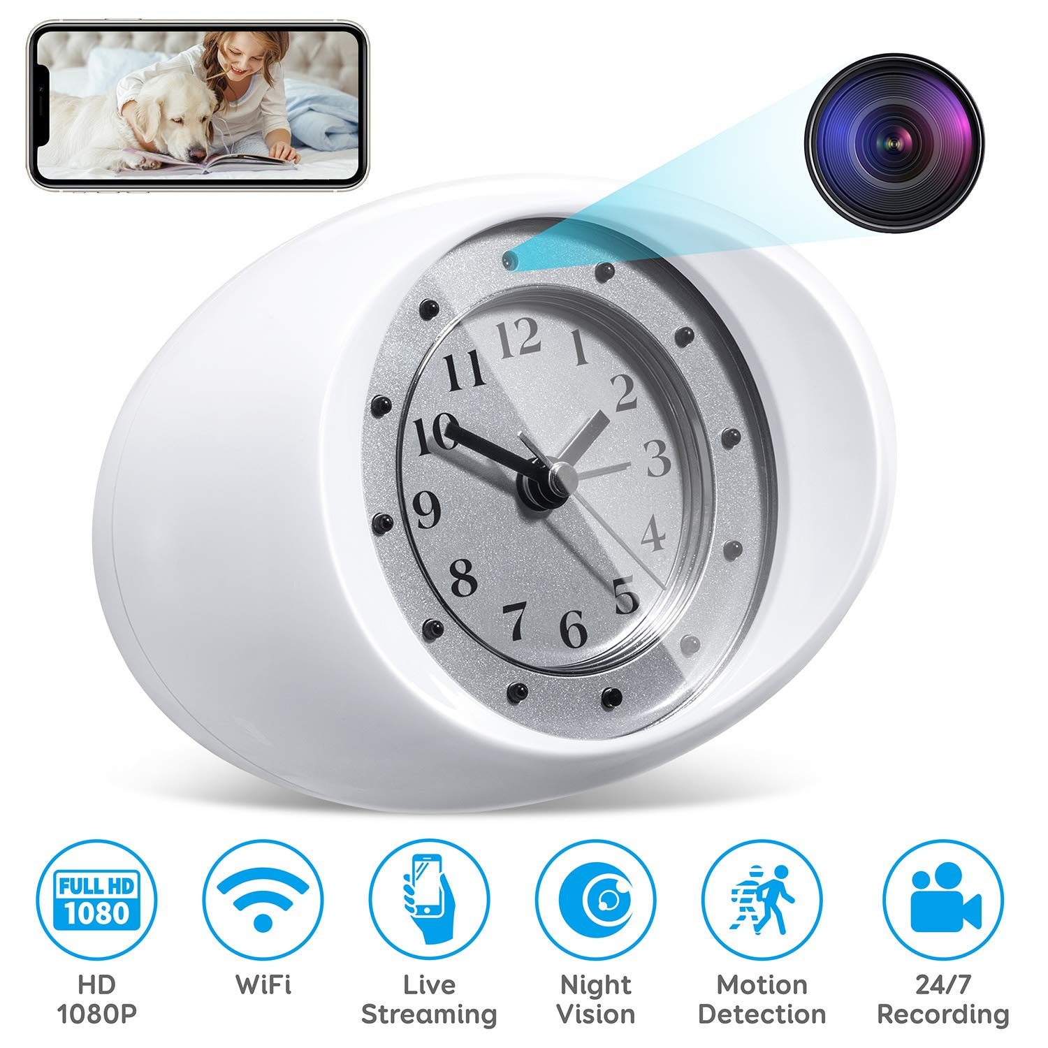Omples Hidden Camera Spy Camera Wireless Security Nanny Cam with 1080P Full HD, WiFi, Night Vision, Motion Detection, Cell Phone App, No Sound Recording by Omples