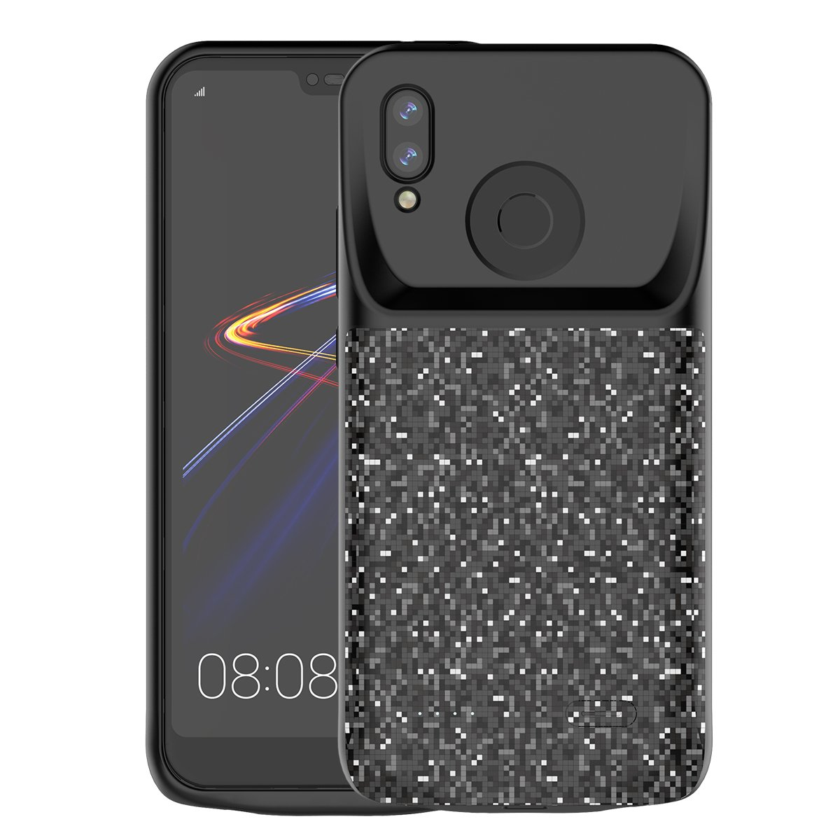 Torubia Huawei P20 Lite Rechargeable Battery Case Charger Cover, Shake Dust Dirt Proof Case Compatible with Huawei P20 Lite - Black