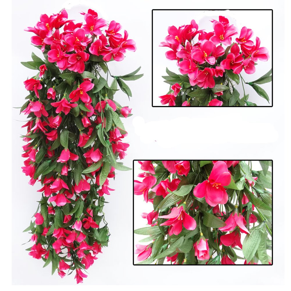 Colorfulife® 2pcs/lot Artificial Lifelike Silk 35'' Lily Bracketplant Hang Flower Vine Rattan Cane Garland Wall Hanging Plant Wedding Party Home Garden Room Balcony Decoration,6 Colors (Hot Pink)