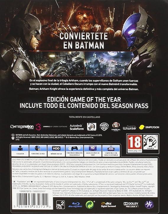 Batman: Arkham Knight - Game Of The Year Edition: Amazon.es: Videojuegos