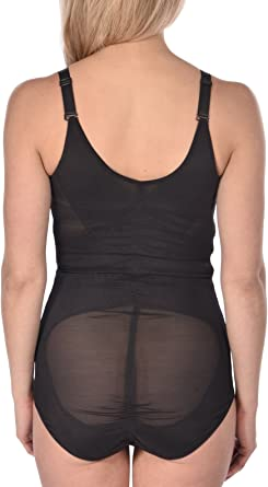 Power mesh Body Suit with Three Hook and Eye Contours Curves Shapewear