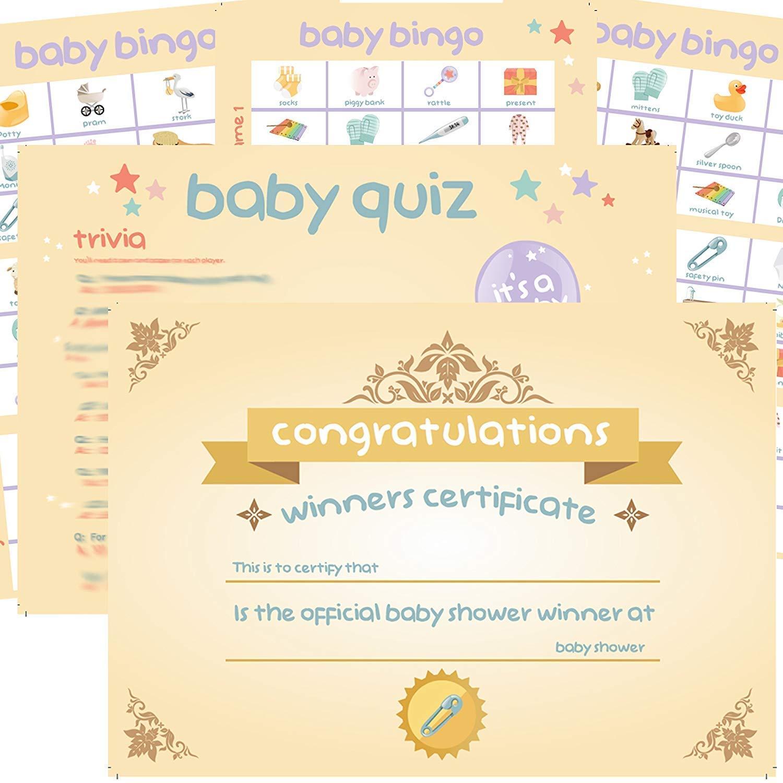 4 X Baby Shower Games Bingo Charades Quiz Trivia Winners