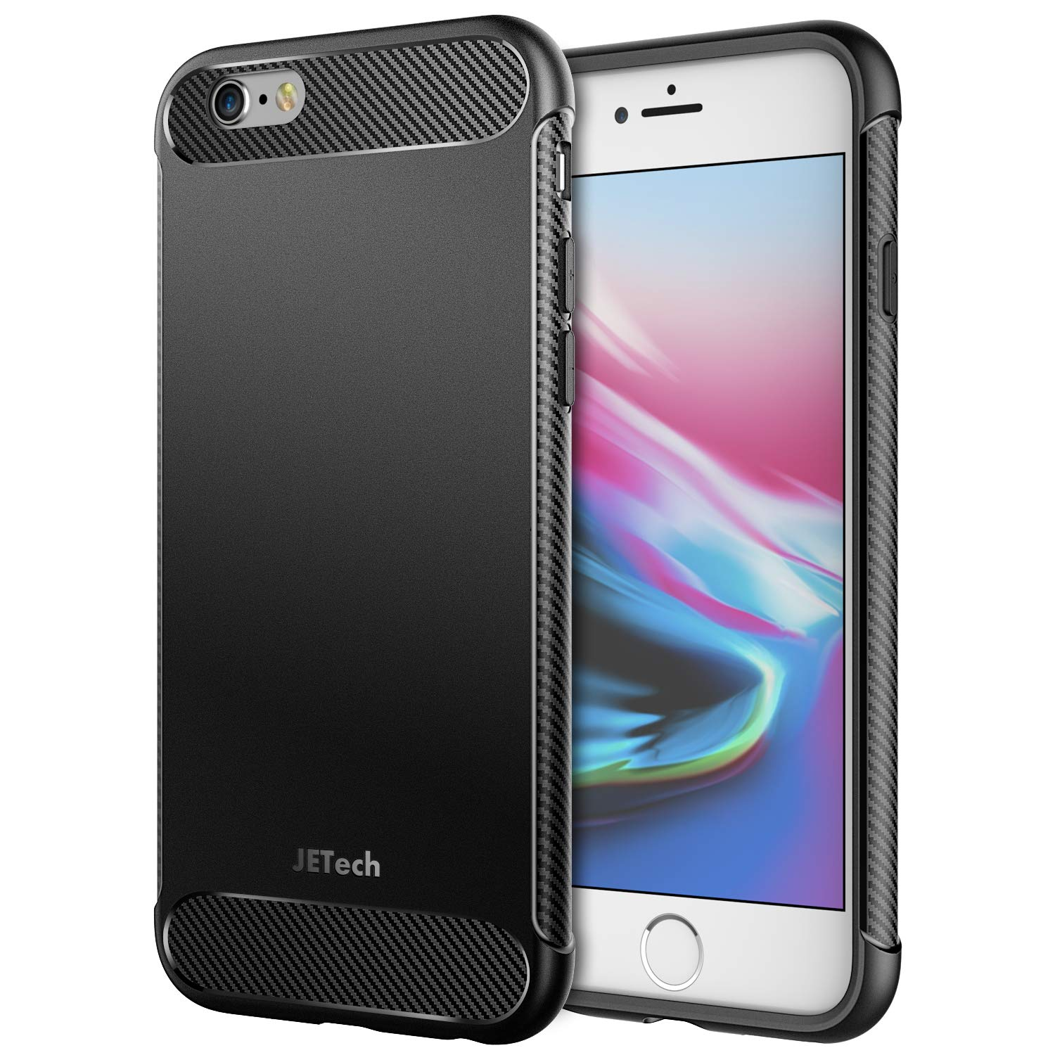JETech Case for iPhone 6s and iPhone 6, Protective Cover with Shock-Absorption and Carbon Fiber Design, Black