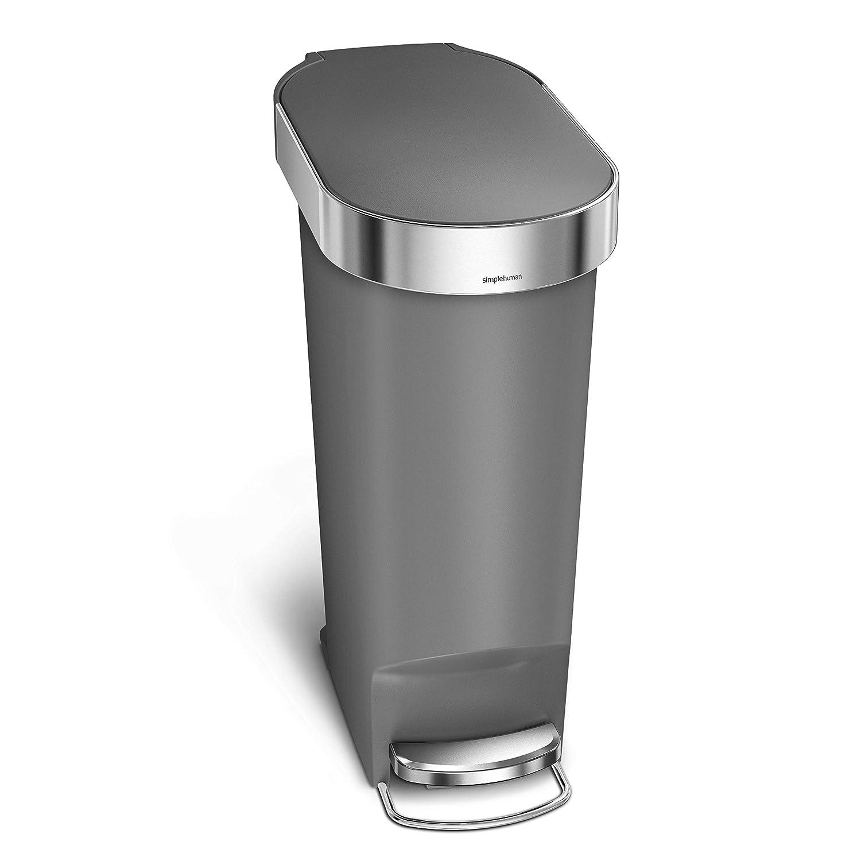10 6 Gallon Slim Kitchen Step Trash Can Simplehuman 40 Liter Black Plastic Kitchen Trash Cans Home Kitchen Guardebem Com