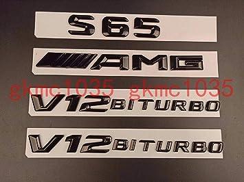 Gloss Black BITURBO 4MATIC Letters Badge Emblem Sticker 2pcs for Mercedes-Benz