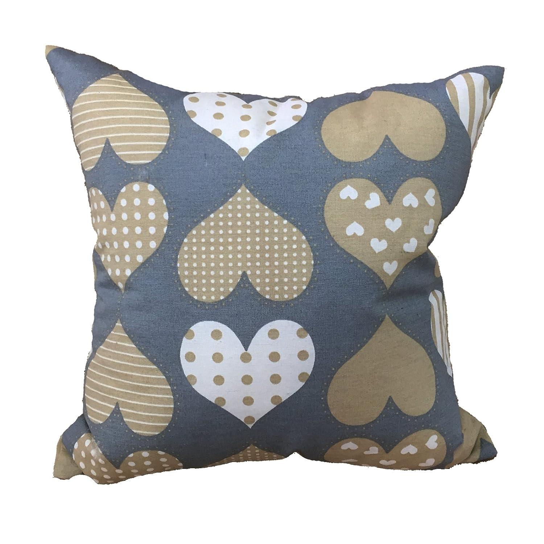Cuscino salotto SHABBY cuore grigio 60x60 arredo arredamento casa divano letto in cotone, Euronovità Srl- MADE IN ITALY