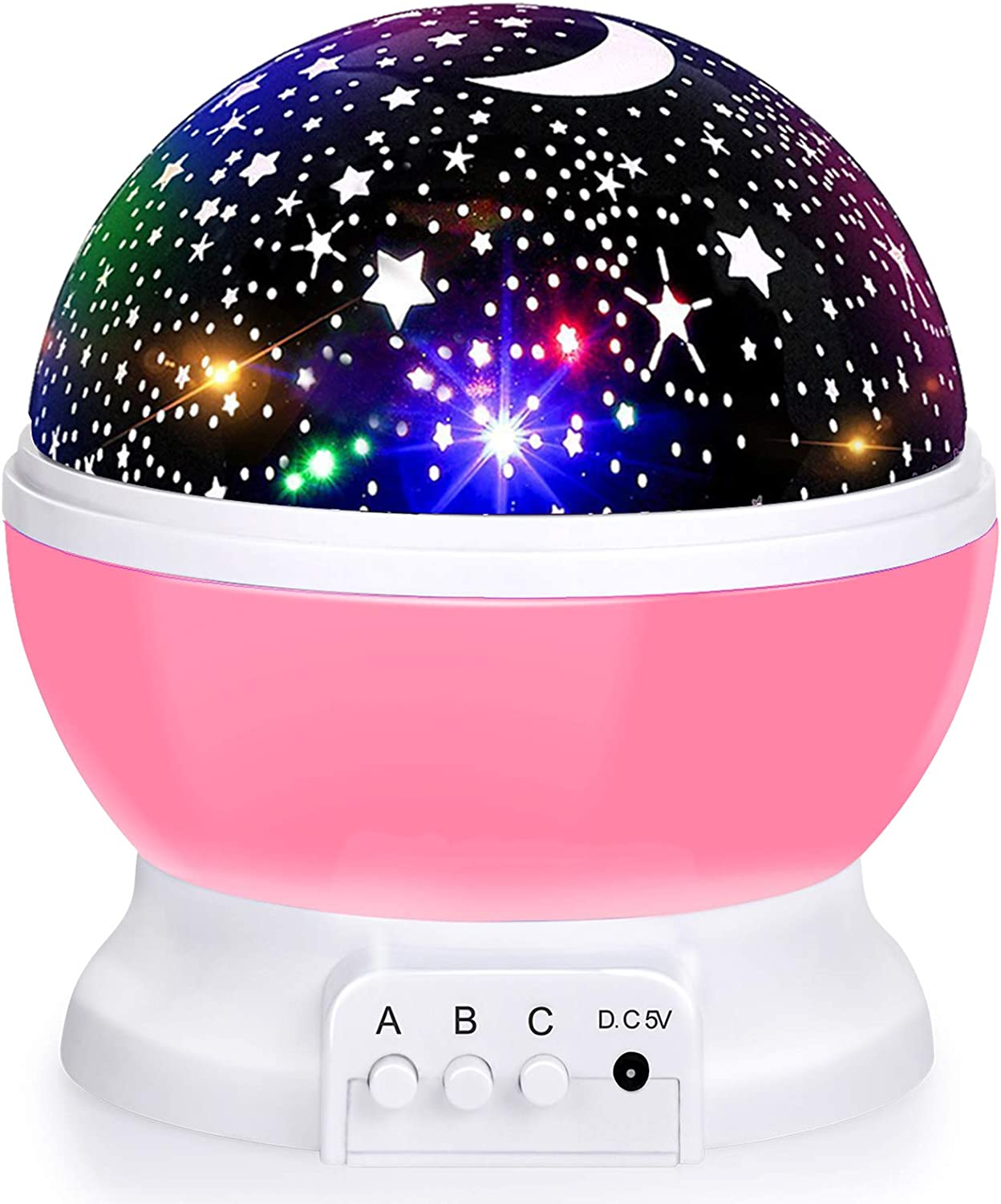 4 LED Bulbs 9 Light Color Changing With USB Cable Baby Night Light Moon Star Projector 360 Degree Rotation Unique...\u00a0