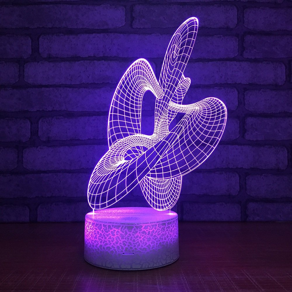 USB Powered Stunning Abstract Dance 3D Remote Control Optical ILLusion Night Light Crackle Paint Base 7 Colors Changing Table Desk Lamp Beside Nightlight Toy for Kids Gifts