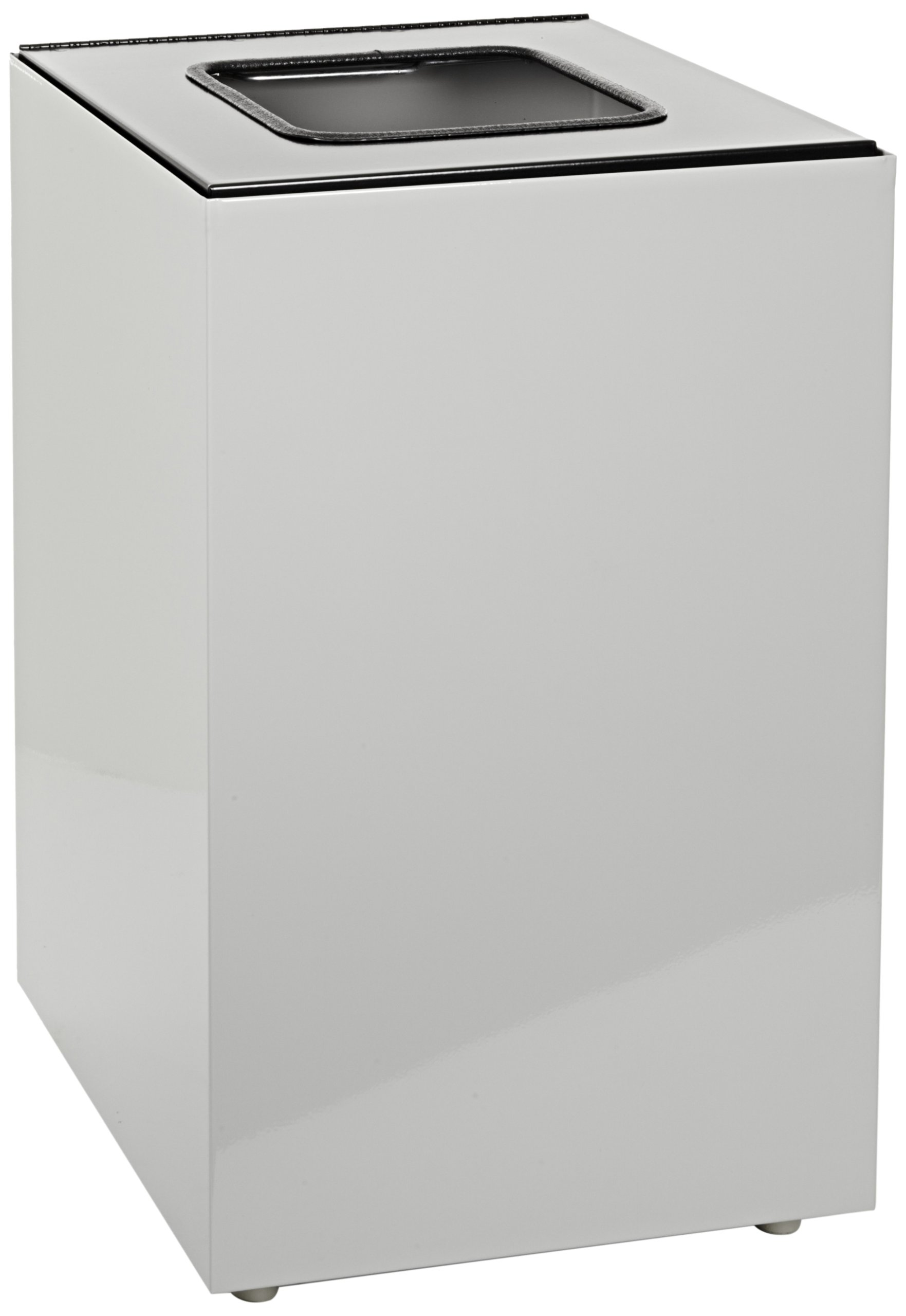 Witt Industries 24GC03-SL Steel 24-Gallon Geo Cube Recycling Container, Square Opening, Legend Waste, Square, 15'' Width x 15'' Depth x 24'' Height, Slate