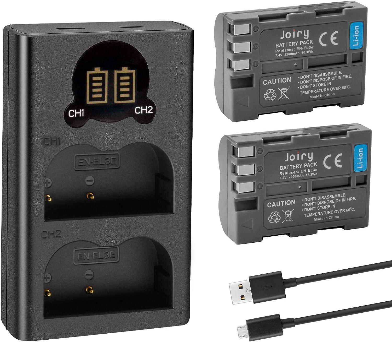 2 X EN-EL3E Batería de Repuesto y Cargador Dual Compatible con Nikon D50, D70, D70s, D80, D90, D100, D200, D300, D300S, D700 D900 Digital Cameras