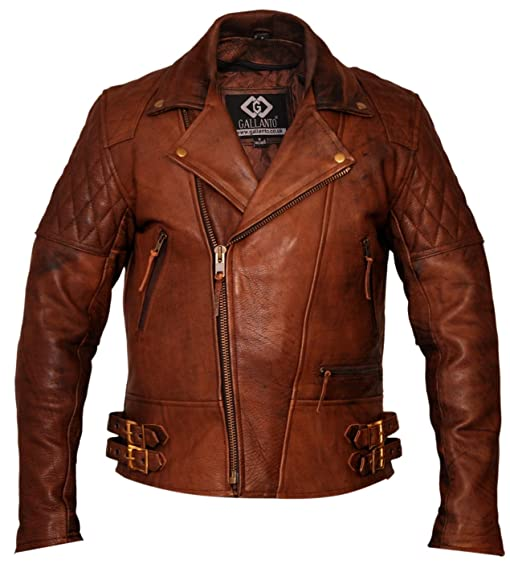 Gallanto Vintage Brown Classic Diamond Armoured Motorcycle Biker ...