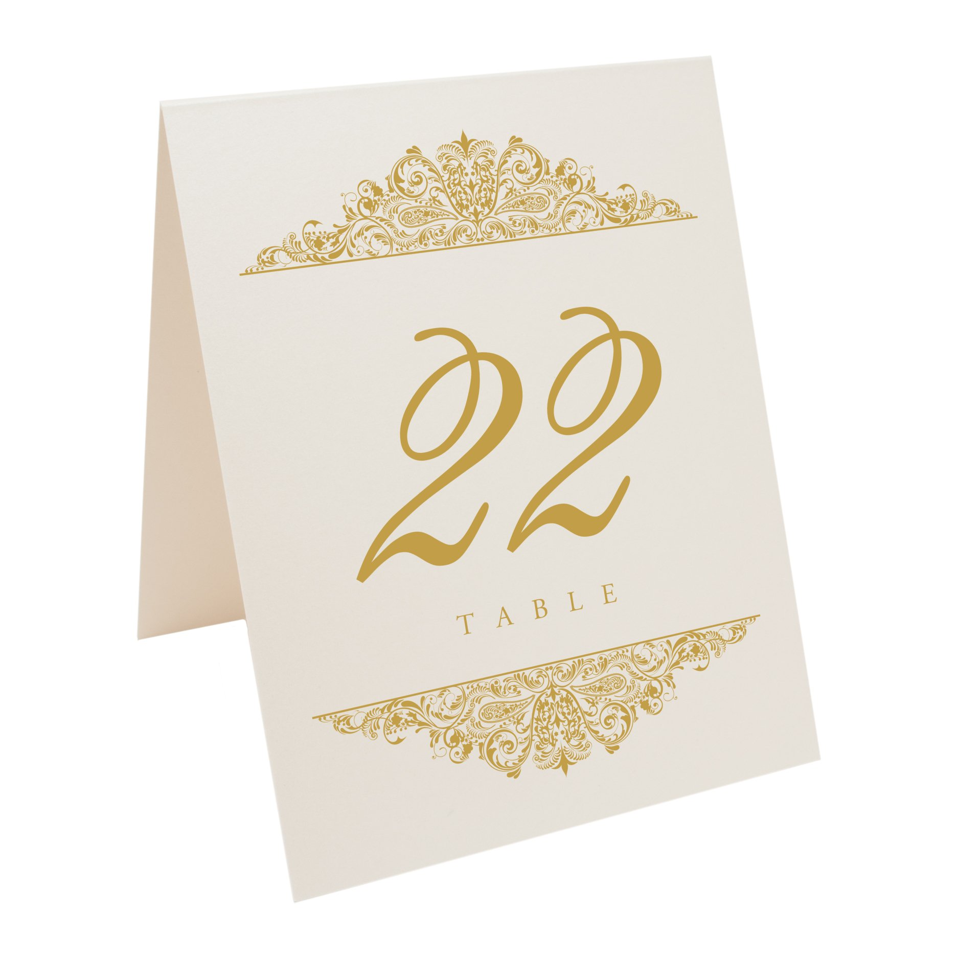 Documents and Designs Paisley Table Numbers (Select Color/Quantity), Champagne, Gold, 1-50
