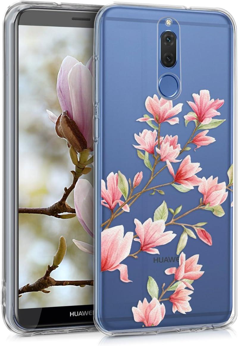 kwmobile Funda con Cuerda Compatible con Huawei Mate 10 Lite Carcasa de TPU con Colgante Magnolias Rosa Claro//Blanco//Transparente