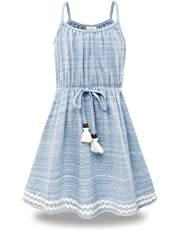 Bonny Billy Big Girls Spaghetti Straps Solid Cotton Kid Beach Dress