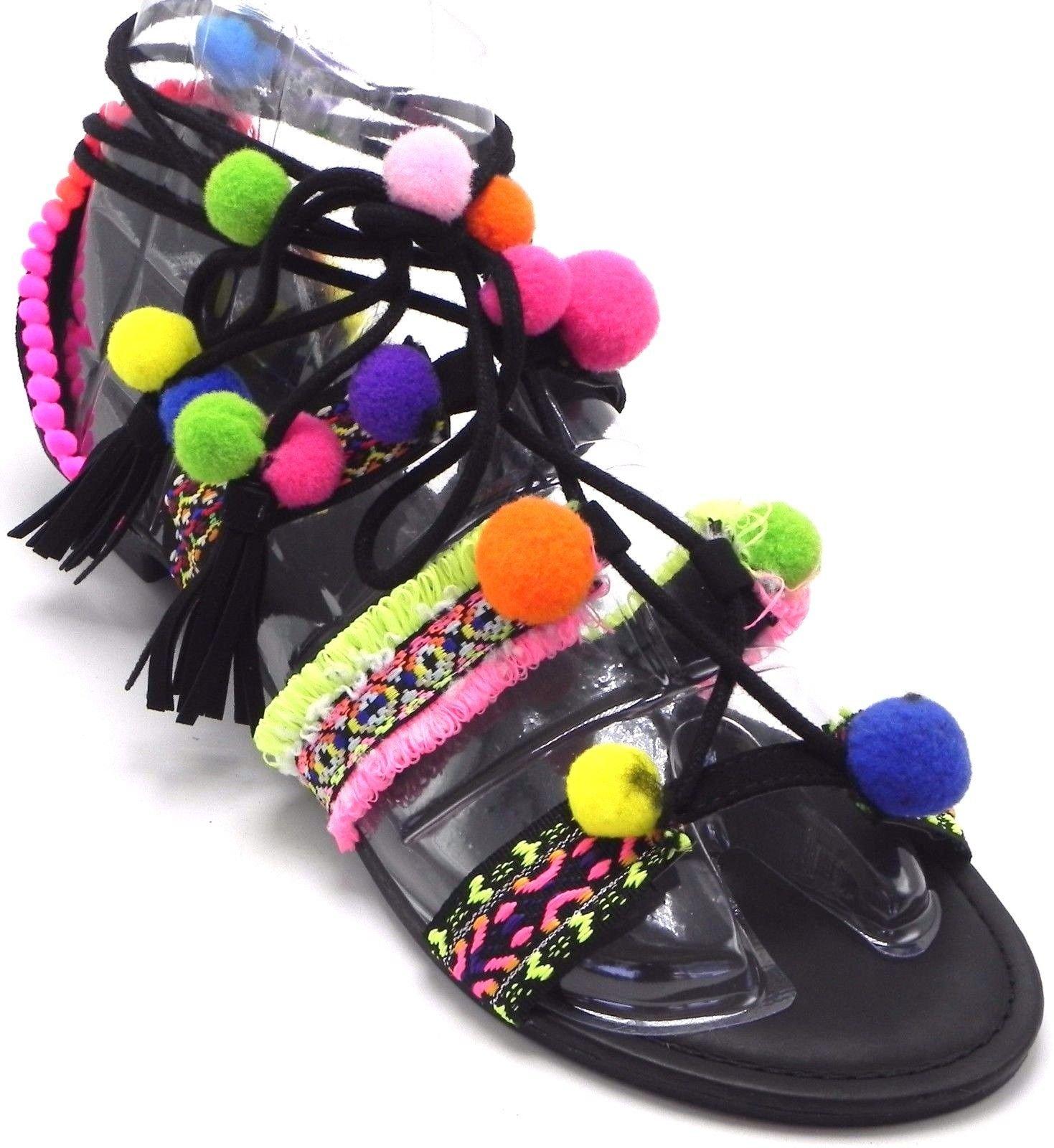 Bamboo Forever Women's Pom-Pom Flip Flop Bohemia Thong Gili Tie Wrap Lollipop Colorful Flat Sandal Shoes