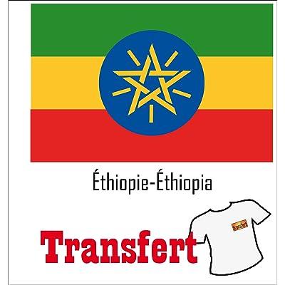 3 Transferts pour textile clair 25 x 40 mm Drapeau Éthiopie-Éthiopia