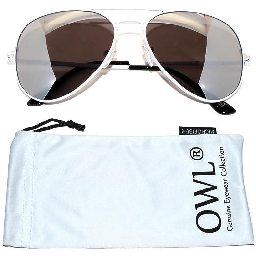 3f74ce338604 Amazon.com: Classic Aviator Sunglasses Silver Mirrored Lens White ...