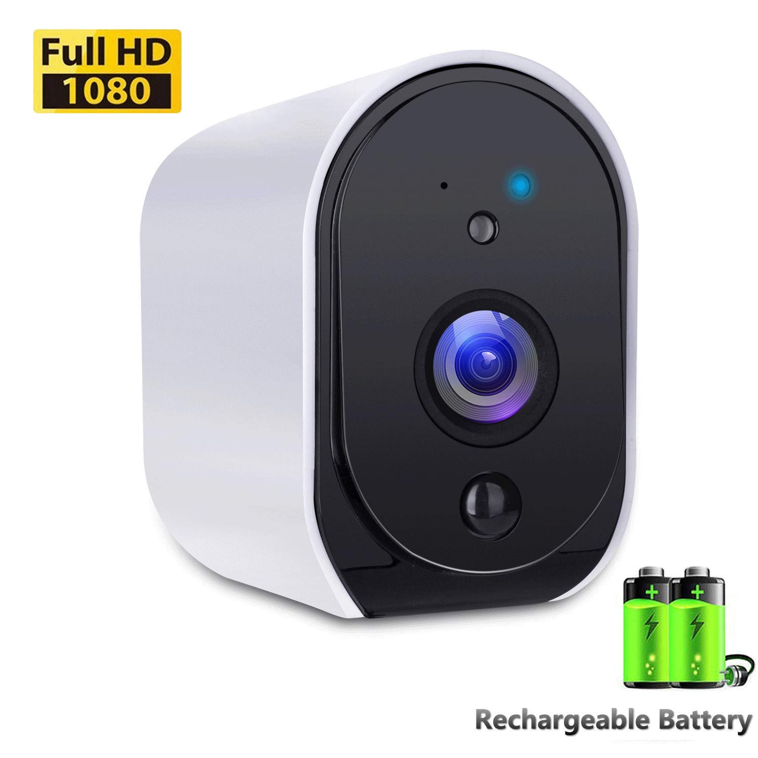 Battery Powered Camera BIZGOOD WiFi IP Camera Home Security System, Night Vision, Indoor/Outdoor Eaves, Compatible with Alexa, 2-Way Audio Talk, Free 32GB Memory Card by BIZGOOD