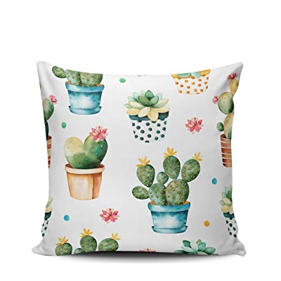 Joocar Watercolor Cactus Plant and Succulent Plant in Pot Pillow Cover Decorative Home Decor Square Indoor/Outdoor Pillowcase Size 26x26 Inch(Two Sides): Kitchen & Dining