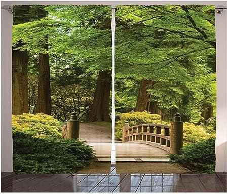 WKJHDFGB Cortinas Japonesas Puente De Madera sobre Un Estanque Jardín Calma Sombra Árboles Serenidad Naturaleza Sala De Estar Dormitorio 2 Paneles Juego 215X320Cm: Amazon.es: Hogar