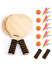 Overmont Game Set Beach Paddle Set Camping Gear with Wooden Racket Beachball Badminton Racquet Cricket Ball Shuttlecock Game and Family Training Kids Children's Office Outdoor Sports