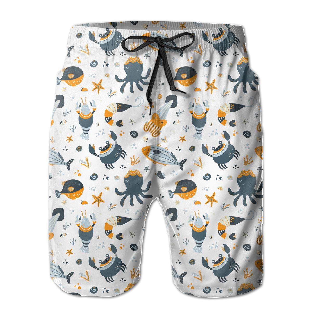 Cute Sea Animals Mens Beach Shorts Casual Surfing Trunks with 3 Pockets
