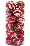 Hengsong 24 Barils Peint Boules de Noël Noël Arbre Boules Décorations de Célébrez Vacances (Rouge)