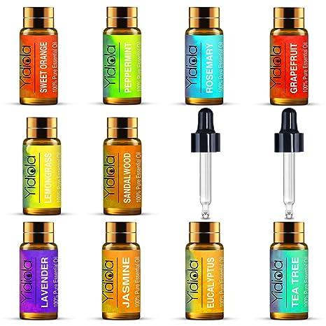 Yidiola, juego de 10 aceites esenciales, 100% puro lavanda, menta, eucalipto, árbol de té, rosemario, limón, naranja dulce, sándalo, jazmín, aceites ...