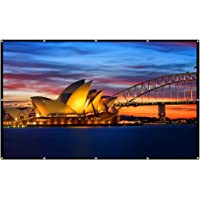 Excelvan 16:9 Collapsible White Portable Projector Cloth Screen With Hanging Hole For Home And Outdoor Use (60 inch)