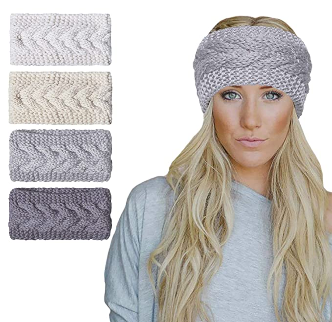 Amandir 2/4 Pcs Womens Chunky Cable Knit Turban Headbands Winter Warm Twist Head Wrap Ear Warmers