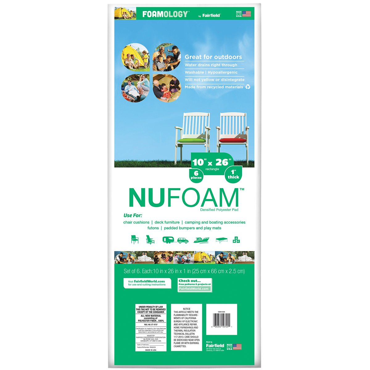 Fairfield NuFoam Pad, 10'' x 26'' by Fairfield