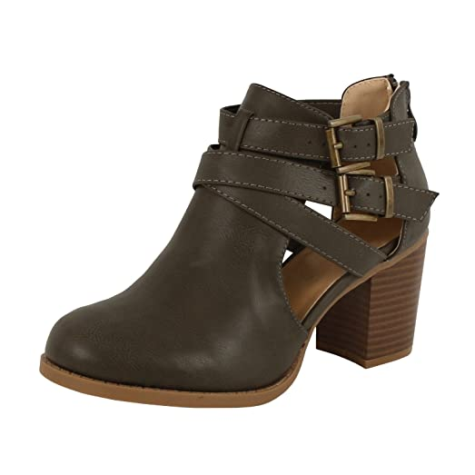 Women's Casual Stacked Chunky Heel Buckle Short Ankle Booties