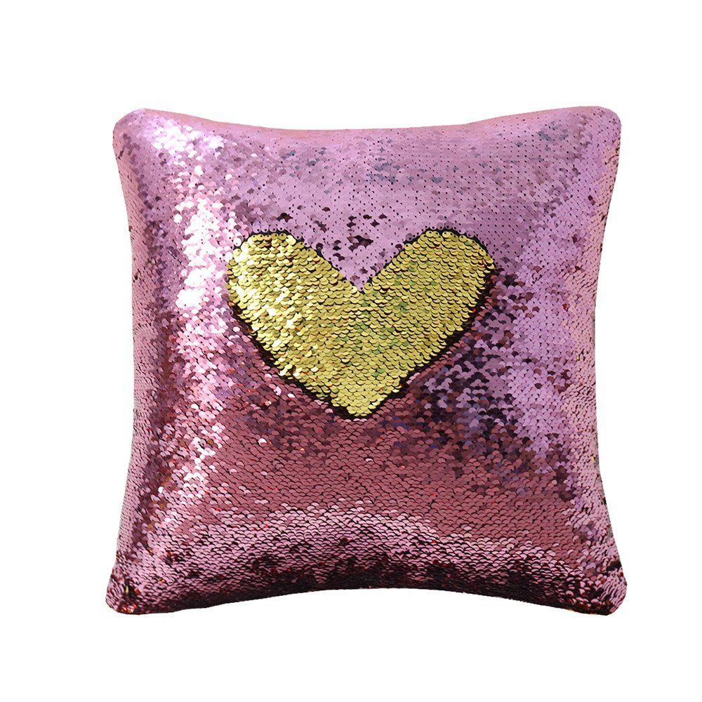 Zdada Rose Pink and Gold 18inch by 18inch Reversible Sequin Pillow with Insert for Home Decoration