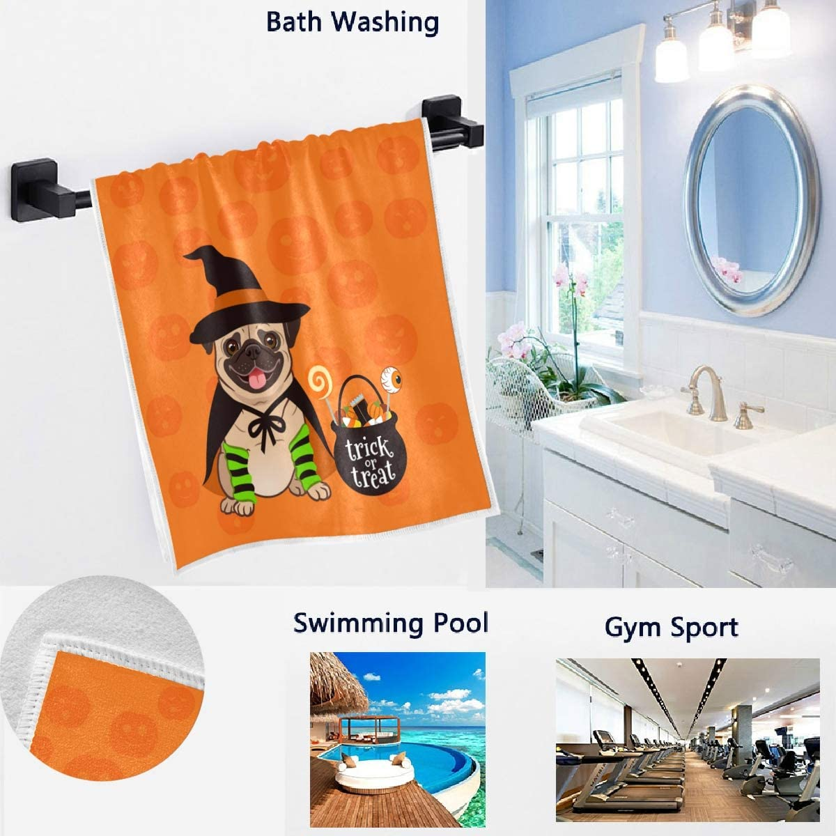 Naanle Halloween Cartoon Dreessed French Bulldog Pumpkin Soft Highly Absorbent Guest Large Home Decorative Hand Towels for Bathroom Gym and Spa Hotel 16 x 30 Inches
