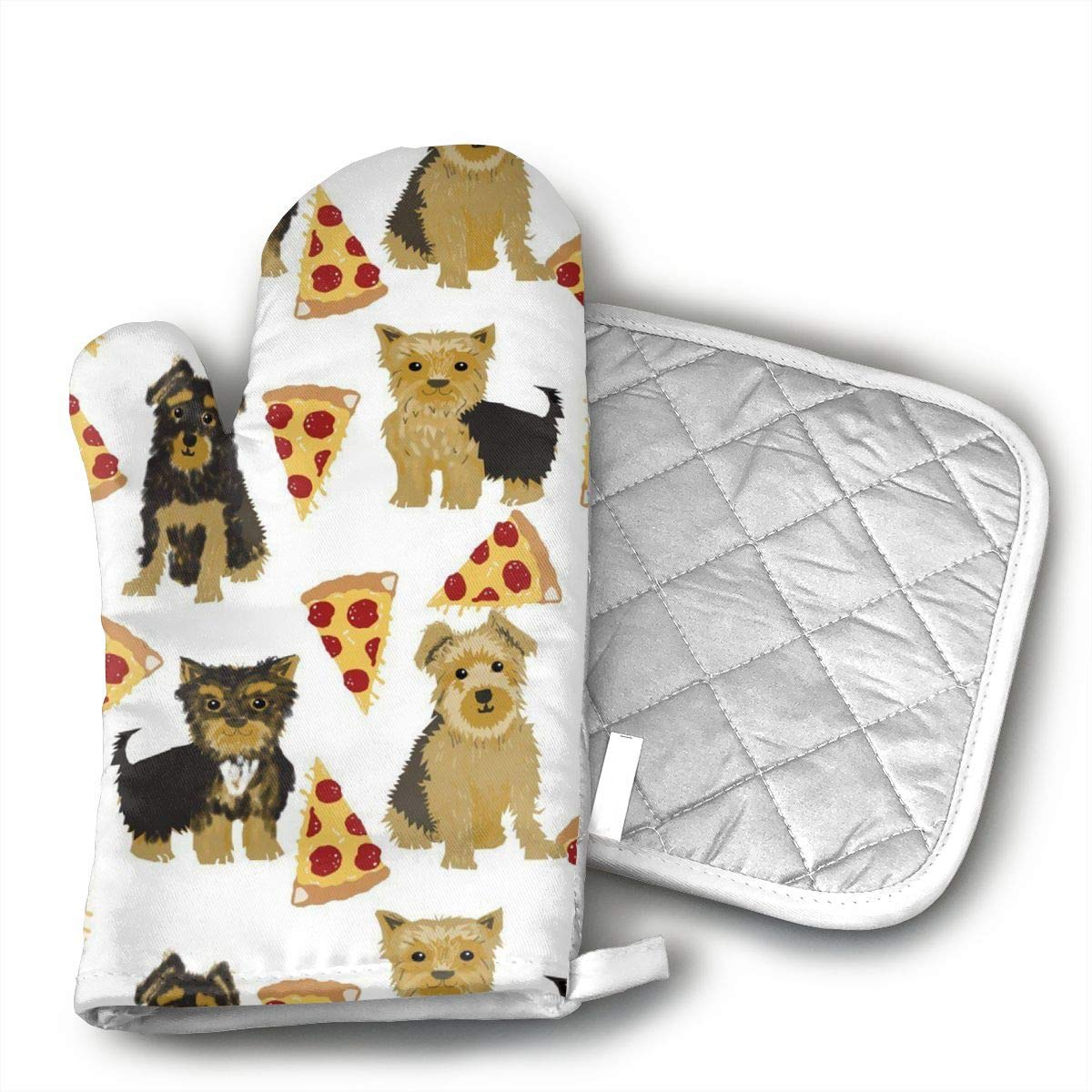 Sjiwqoj8 Yorkie Pizza Kitchen Oven Mitts,Oven Mitts and Pot Holders,Heat Resistant with Quilted Cotton Lining,Cooking,Baking,Grilling,Barbecue