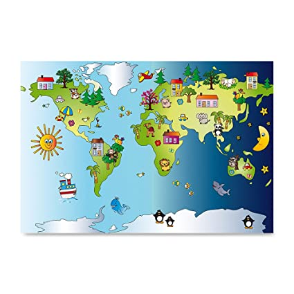 Amazon ezposterprints kids animals funny world map poster ezposterprints kids animals funny world map poster printing wall art prints animals day gumiabroncs Choice Image