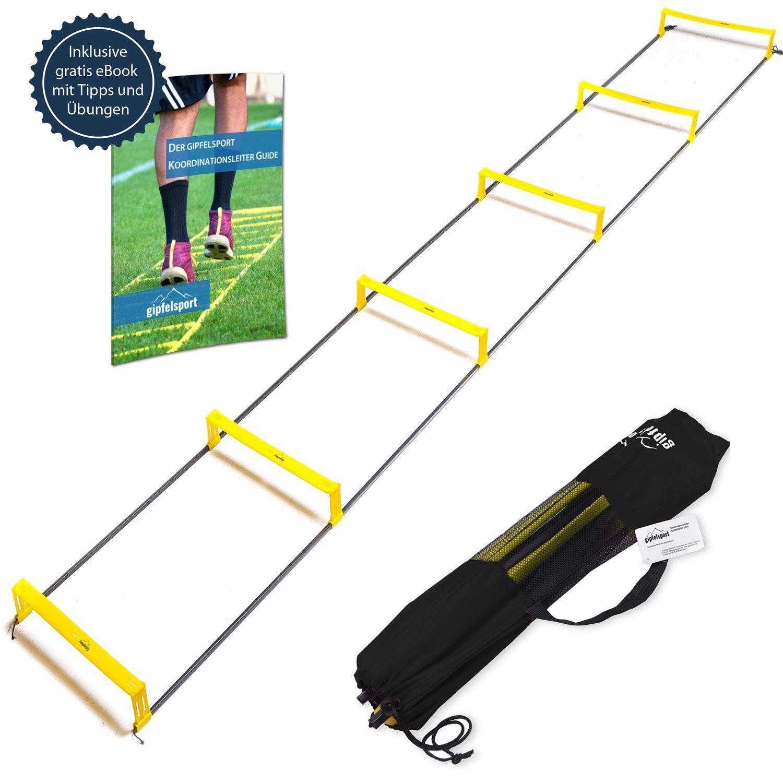 Agility Speed Ladder f/ür Fussball Handball   Koordinationsleiter mit H/ürden von gipfelsport 3m mit Tasche Fitness Sport Trainingsleiter Set Football Geschwindigkeitsleiter Gratis eBook