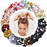 WillingTee 20pcs Women's Hair Scrunchies Chiffon Flowers Elastic Hair Bands Scrunchy Hair Ties Ropes Scrunchie Hair Scrunchies Chiffon Ponytail Holder for Women and Ladies