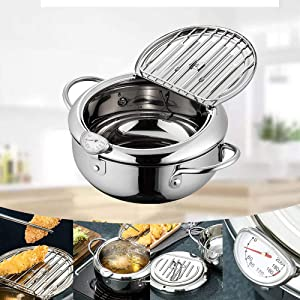 Deep Frying Pan,Tempura Deep Fryer with A Thermometer, Japanese-style Tempura Fryer Pot, Lid And Oil Drip Drainer Rack,Household Nonstick Stainless Steel Fryer Pot for Kitchen Cooking