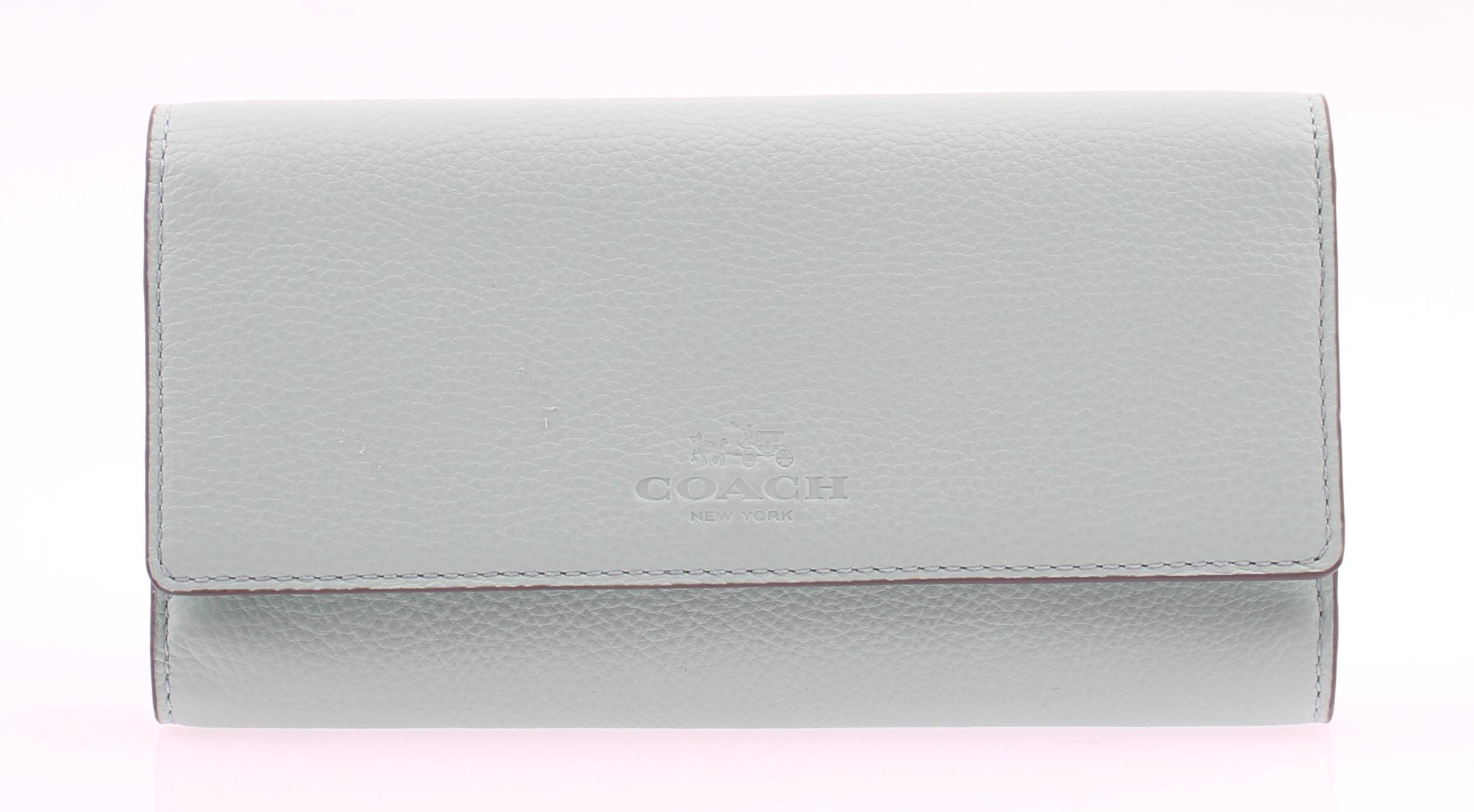 Coach Pebbled leather Trifold Wallet in Seaglass F53708 SVELQ by Coach