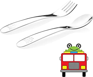 Kiddobloom Baby / Early Toddler Stainless Steel Utensil Set, Fire Truck Model, 2pc Set (1 Spoon and 1 Fork) Suitable for Baby Led Weaning or Self Feeding or Baby Feeding