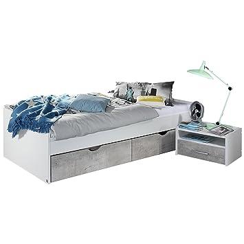 Bett Maliso 120 X 200 Cm Grau Metallic Breite 125 Cm Hohe 54 Cm
