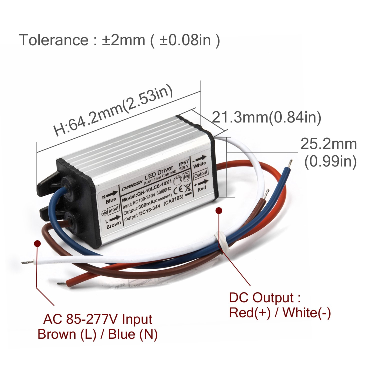 Chanzon Led Driver 300ma Constant Current Output 18v 34v In110 Simple Dc To Ac Converter Circuit Diagram 240v 6 10x1w 6w 7w 8w 9w 10w Ip67 Waterproof High Power Supply 300 Ma Lighting