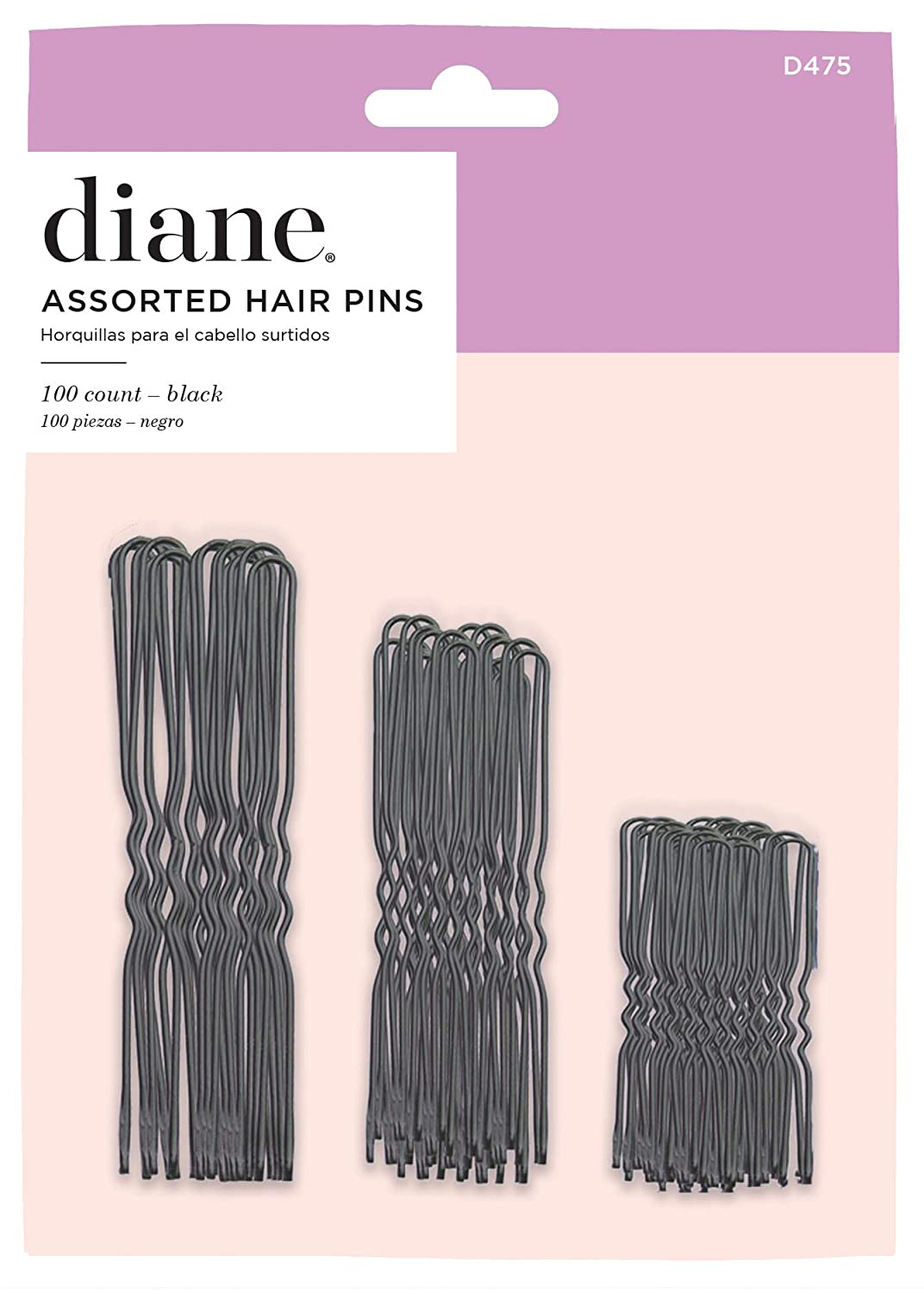 Diane Hair Pins Assorted Size, Black, 100/card : Bobby Pins : Beauty