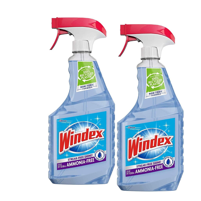 Ammonia-Free Glass Cleaner Trigger Bottle, Crystal Rain, 23 Fl Oz - 2 Pack