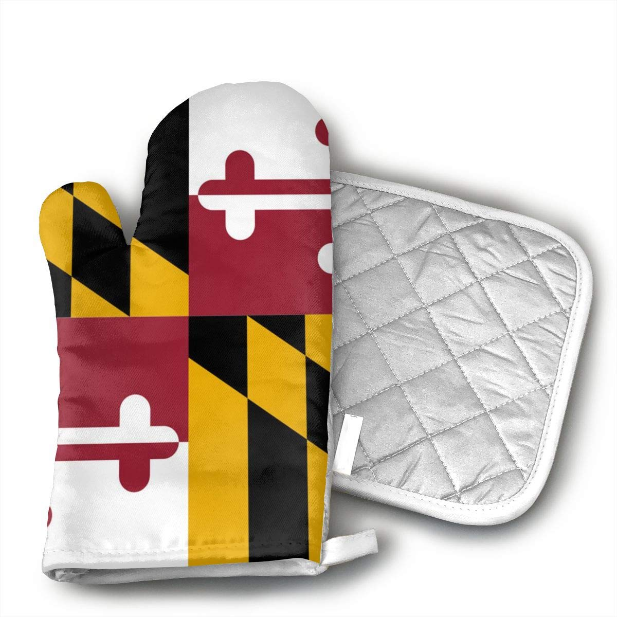 SADLK Maryland Flags Premium Terylene/Oven Mitts and Pot Mat,Pot Mat/Hot Pads, Heat Resistant Gloves Kitchen