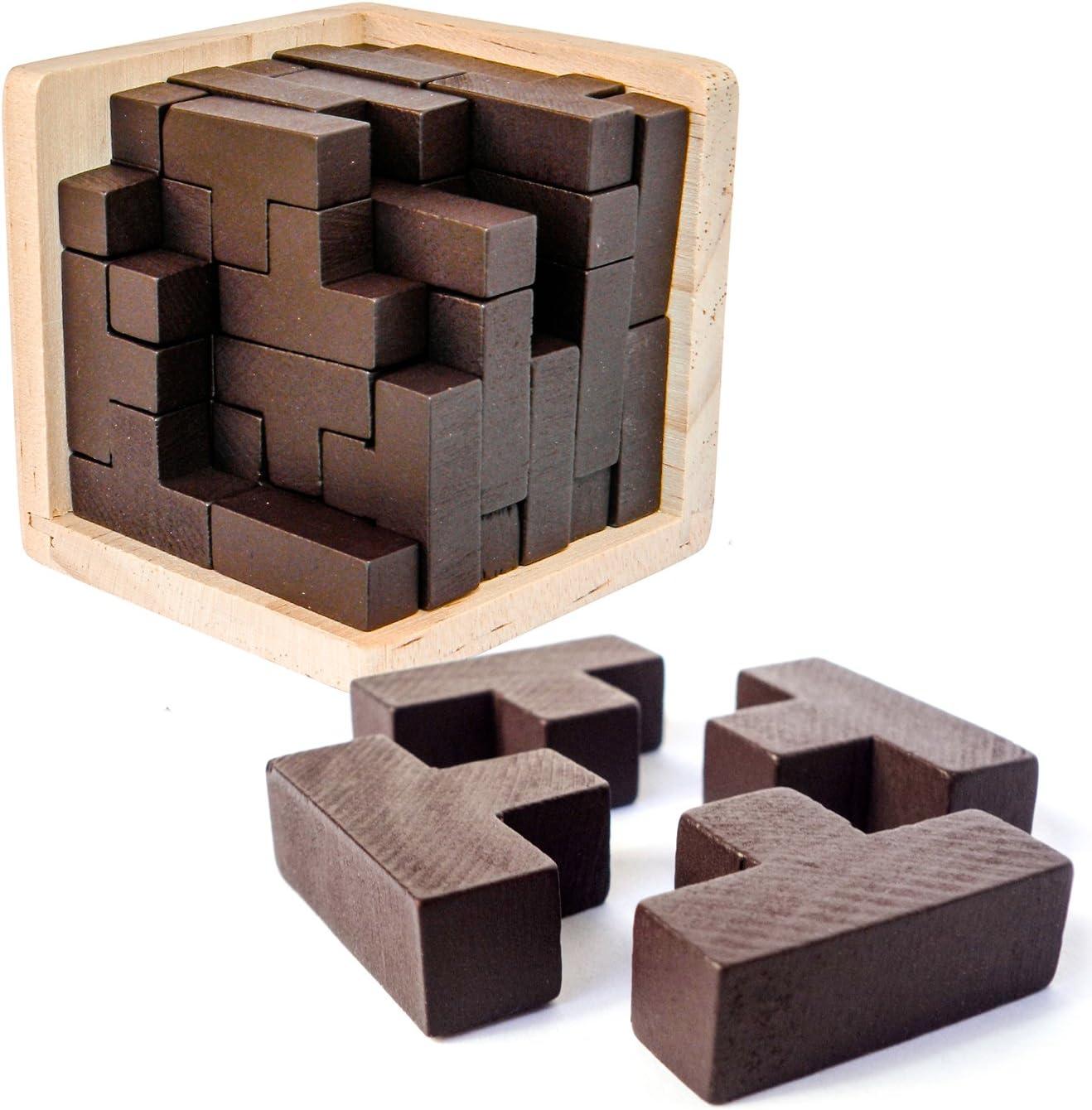 Sharp Brain Zone Rompecabezas 3D De Madera Desarrolla Habilidades de Genio con Sus Piezas en Forma de T Que se Ajustan como en Tetris. Juguete Educativo para Niños y Adultos.